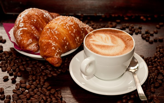 Wallpaper Coffee and croissant, coffee beans