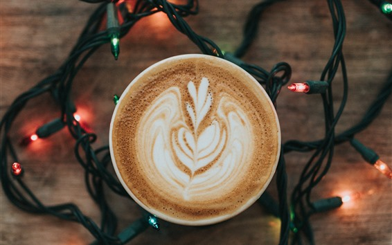 Wallpaper Coffee, cappuccino, holiday lights