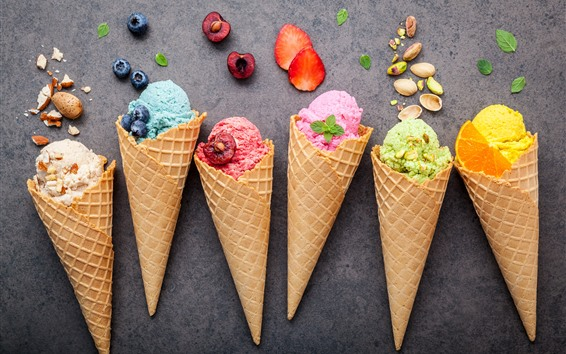 Wallpaper Colorful ice cream, fruit