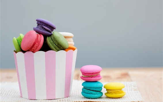배경 화면 다채로운 마카롱, 케이크, 종이 통