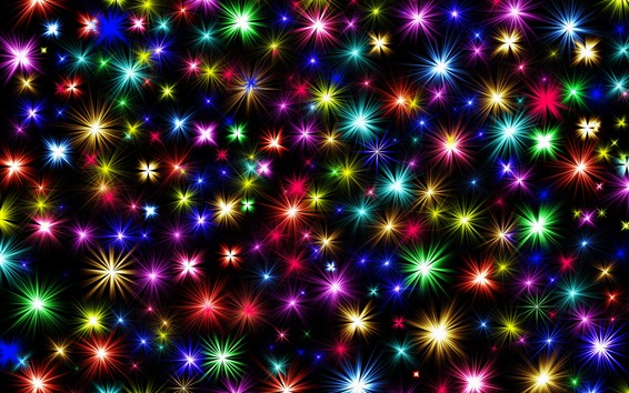 Wallpaper Colorful stars, shine, black background