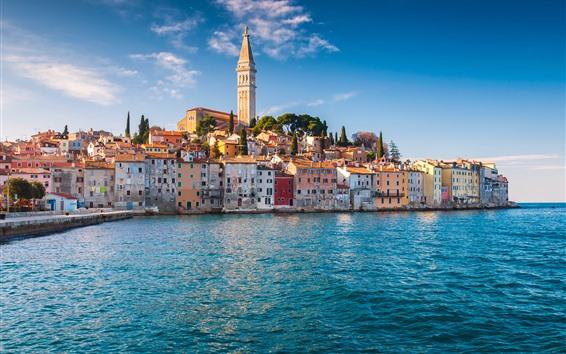 Papéis de Parede Croácia, istria, mar adriático, rovinj, casas