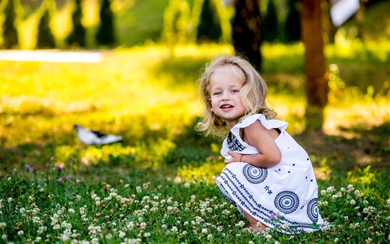 Wallpaper Cute blonde little girl look back, flowers, summer