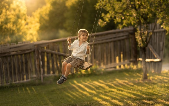 Wallpaper Cute little boy play swing, childhood