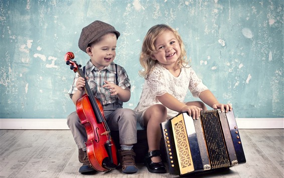 Wallpaper Cute little girl and boy, musical instruments, violin, accordion