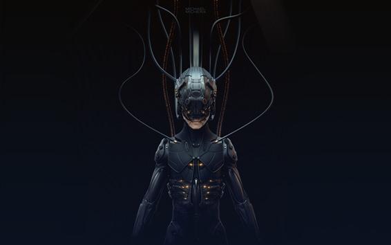 Fondos de pantalla Cyberpunk 2077, cyborg, fondo negro