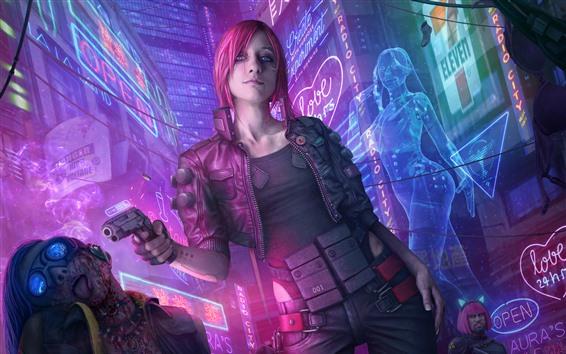 Fondos de pantalla Cyberpunk 2077, chica con cabello rosado, pistola, ciudad.