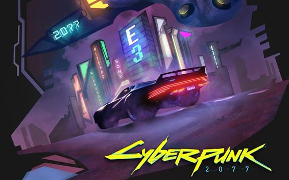 壁紙 サイバーパンク2077、スーパーカー、ナイト、シティ、E3ゲーム