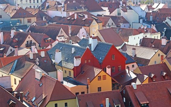 壁紙 チェコ、都市、住宅、トップビュー、屋根