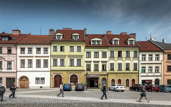 壁紙 チェコ共和国、市街地、人々