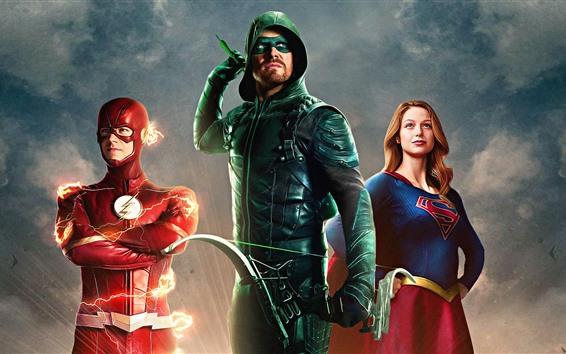 Wallpaper DC Comics superheroes, Arrow, Flash, Supergirl