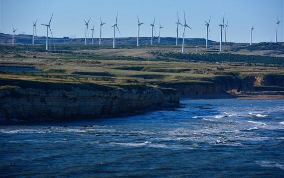 Wallpaper Dalian, Wafangdian, sea, windmills