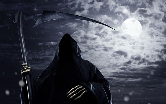 Wallpaper Death, scythe, moon, horror