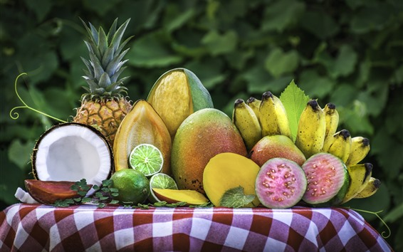 Wallpaper Delicious fruit, coconut, lime, mango, pineapple, banana, watermelon