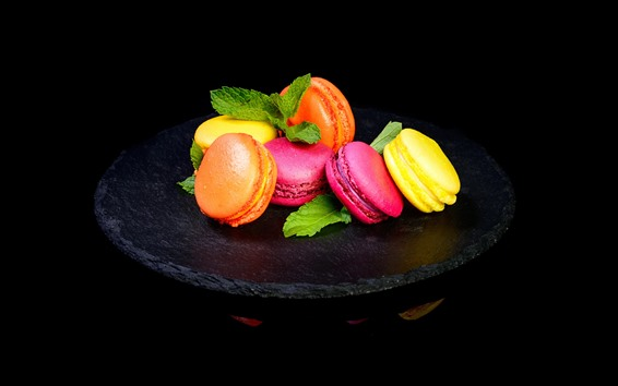 Wallpaper Delicious macaron, colors, black background