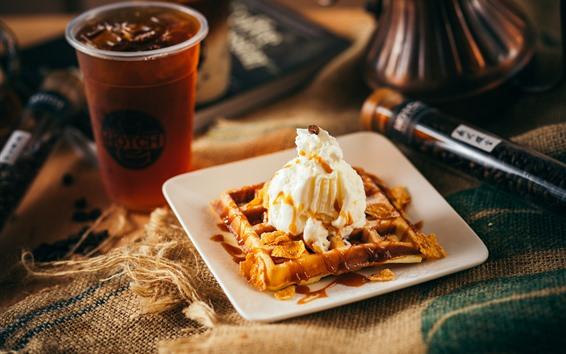 Wallpaper Dessert, waffle, cream, coffee