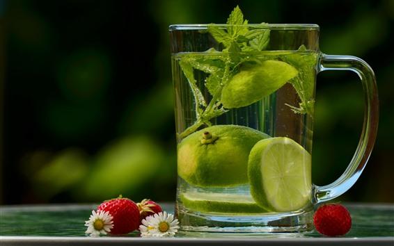 배경 화면 음료, 유리 컵, 석회 조각, 딸기