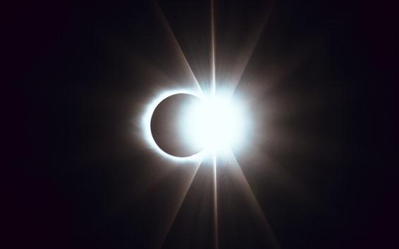 Wallpaper Eclipse, night, moon, glare