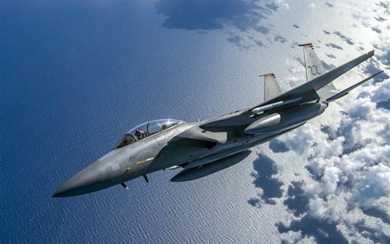 Wallpaper F-15C Eagle Fighter, sea, clouds