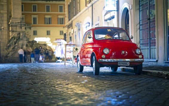 Wallpaper FIAT red retro car
