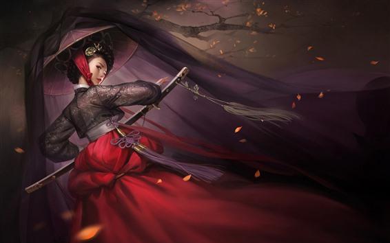 Papéis de Parede Fantasia menina japonesa, espada, chapéu, árvore, noite
