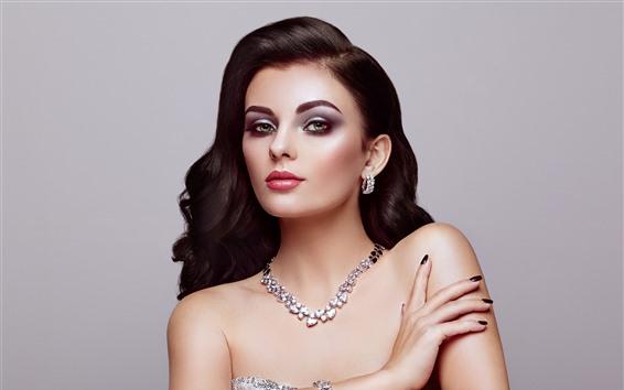 Hintergrundbilder Modemädchen, Locken, Make-up, Juwel