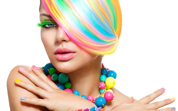 Wallpaper Fashion girl, rainbow colors hair, colorful beads