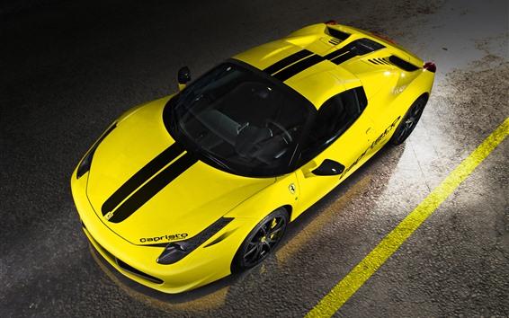 Wallpaper Ferrari 458 yellow supercar top view