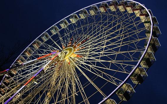 Papéis de Parede Roda gigante, noite, luzes, cidade