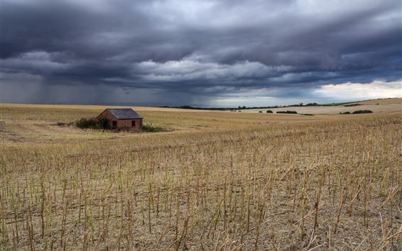 Papéis de Parede Campo, casa, nuvens grossas