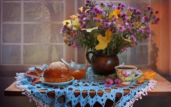 Fond d'écran Fleurs, chrysanthèmes, pain, confiture, thé, nature morte