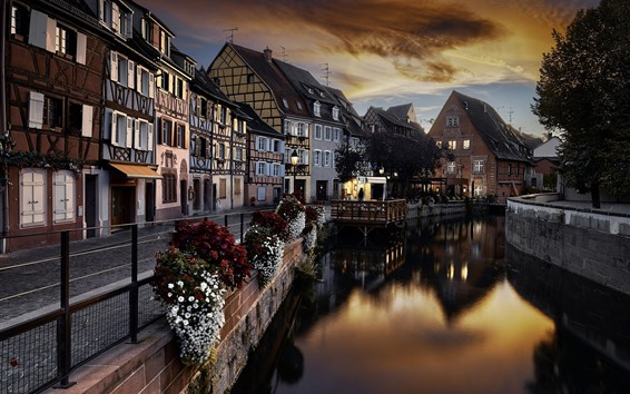 Wallpaper France, Colmar, city, river, houses, dusk, lights