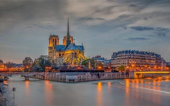 Wallpaper France, Paris, river, bridge, buildings, lights, night