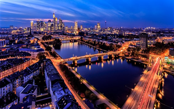Wallpaper Frankfurt, Germany, city, night, roads, river, bridge, skyscrapers, lights