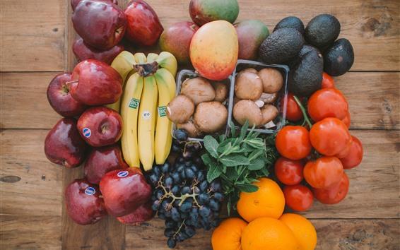 Fond d'écran Fruits, bananes, pommes, oranges, raisins, tomates, mangues