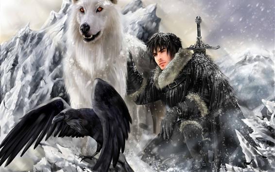 Fondos de pantalla Juego de tronos, lobo, hombre, pájaro, imagen artística