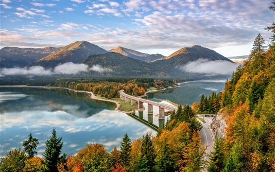 Wallpaper Germany, Bayern, Alps, bridge, road, mountains, river