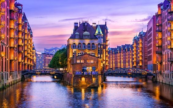 Papéis de Parede Alemanha, hamburgo, rio, casas, iluminação, noite