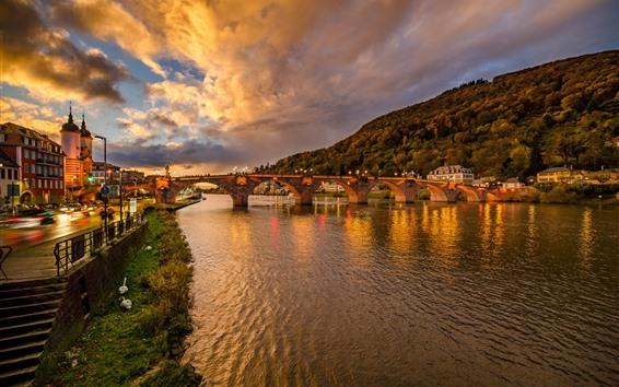 Wallpaper Germany, Heidelberg, bridge, river, night, lights, city