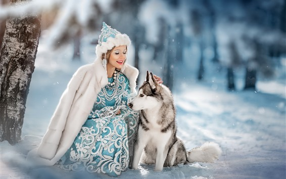 Wallpaper Girl and wolf, friends, snow, winter