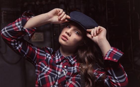 Wallpaper Girl, hat, hands, shirt