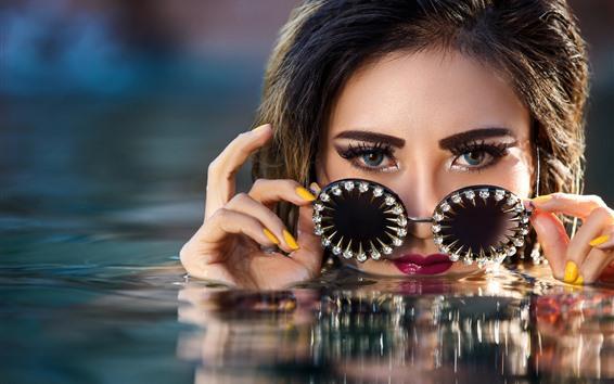 Wallpaper Girl, water, blue eyes, glasses, diamond