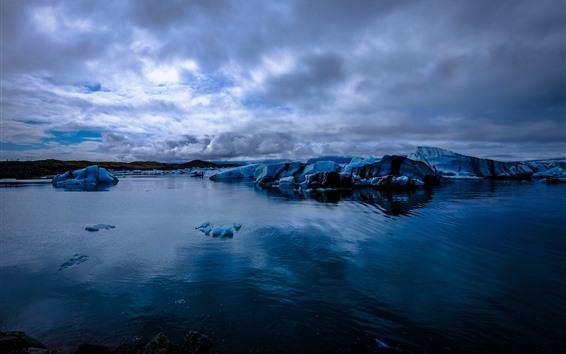Fondos de pantalla Glaciar, hielo, mar, atardecer.