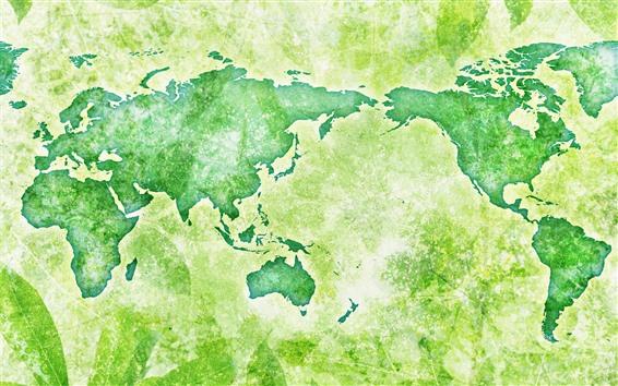 壁紙 グローバルマップ、グリーンスタイル