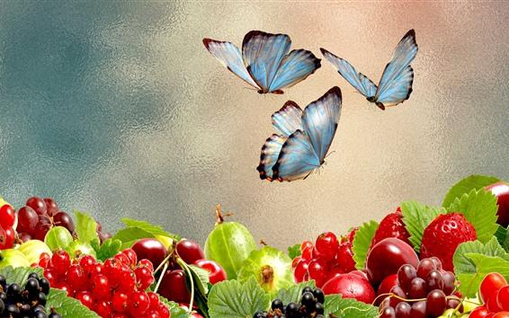 Papéis de Parede Uvas, frutas, frutas, borboleta