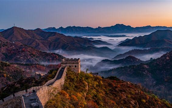 Обои Великая стена, горы, туман, утро, Китай
