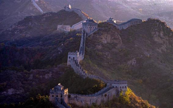 Обои Великая стена, горы, высокая, руины, Китай