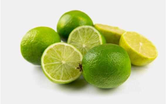 Wallpaper Green limes, fruit, gray background