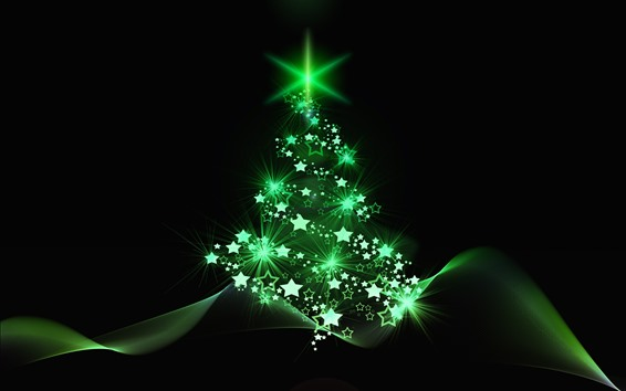 Wallpaper Green style Christmas tree, stars, abstract
