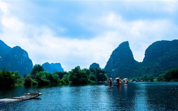 Papéis de Parede Guangxi, guilin, china, montanhas, rio, barcos, natureza, paisagem